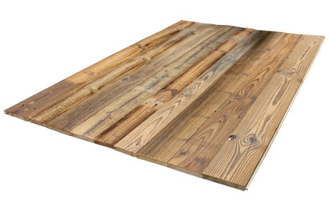 Reclaimed wood boards with tongue and groove