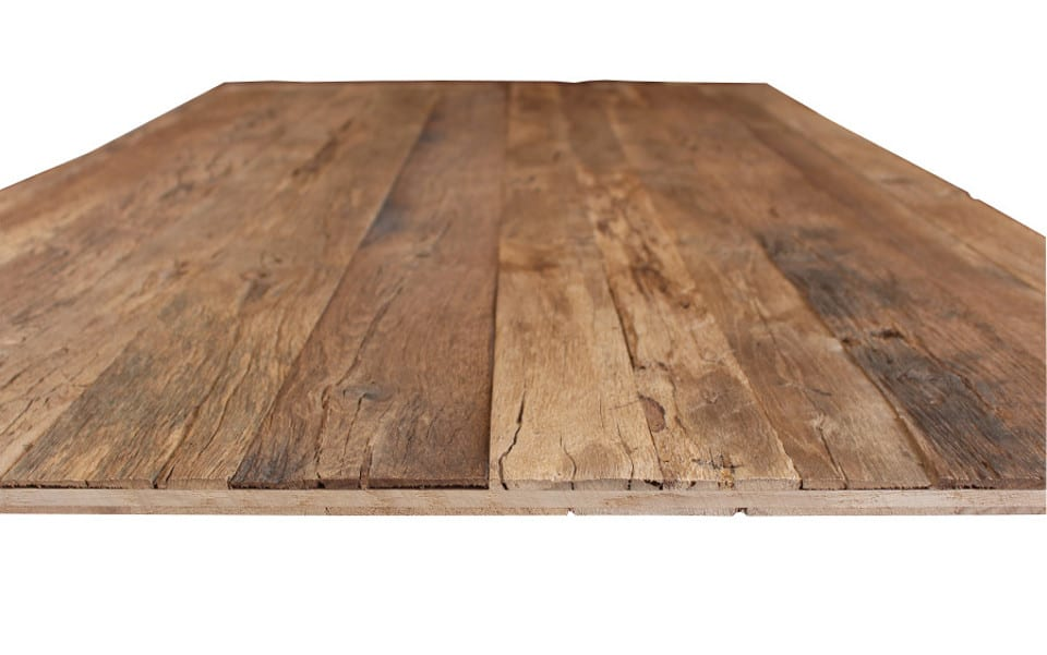 Reclaimed wood 3-layer panel handhewn surface
