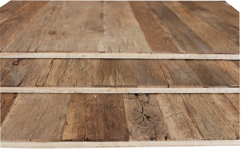 Reclaimed wood 3-layer panel old oak