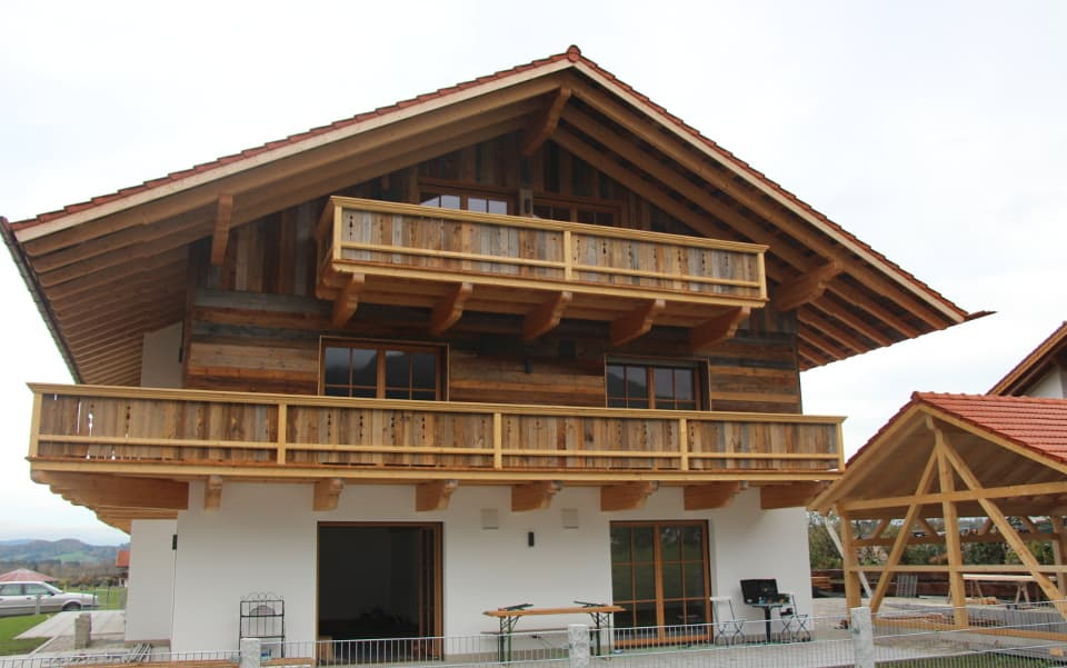 House front made of sunburnt wood